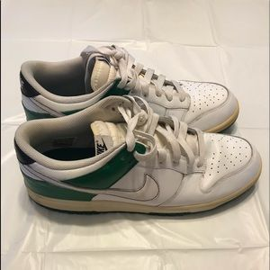 Mens Nike Low Dunk White and Green Sneaker Size 13